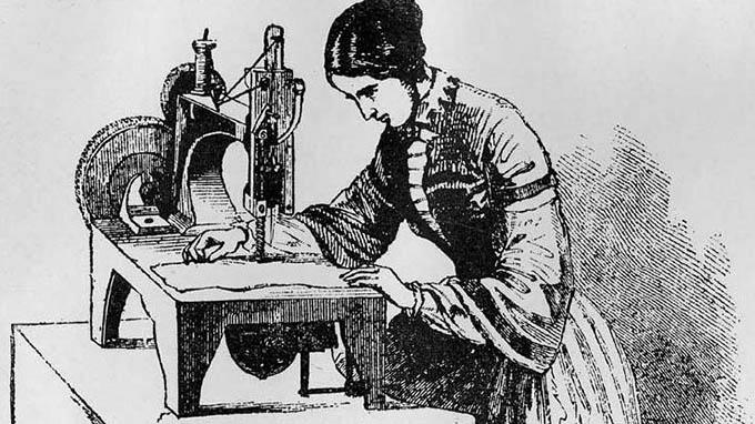 Une femme travaillant sur la machine de Elias Howe