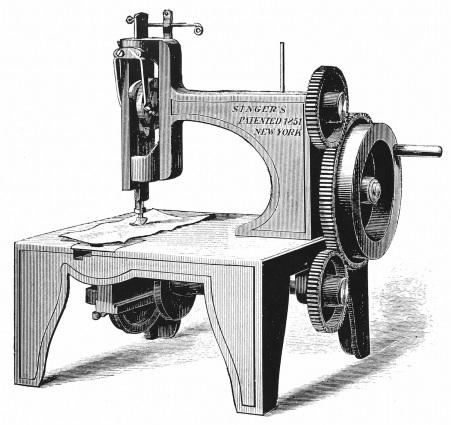 Première machine à coudre de Isaac Merritt Singer brevetée en 1851